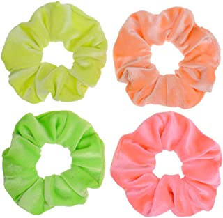 4 Pcs Neon Color Velvet Scrunchies for Hair Girls' Hair Elastics ties Accessories