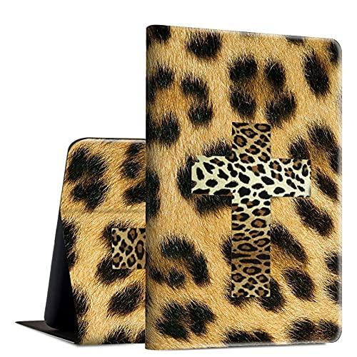 Rossy Funda para Amazon Fire HD 10 2021, Fire HD 10 Plus Tablet Case (11ª generación, 2021 lanzamiento), piel sintética, funda de TPU con soporte ajustable, estampado de leopardo con cruz