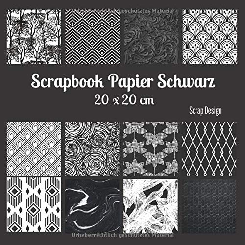 Scrapbook Papier Schwarz 20 x 20 cm
