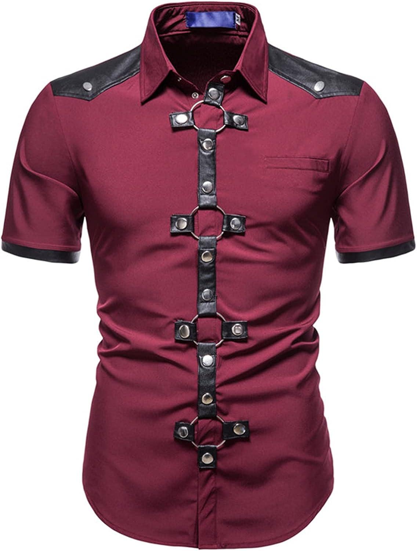 Moily Men Steampunk Short Sleeves Shirt Gothic Punk Handsome Summer Rock Shirt Casual Blouse Tops