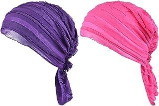 Staringirl Women 2 Pack Ruffle Chemo Hat Beanie Head Scarf Hair Coverings Cancer Caps