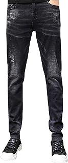 JiaYou All Seasons Slim Fit Mid Waist Taper Stretch Flex Ripped Pants Trousers Denim Jeans