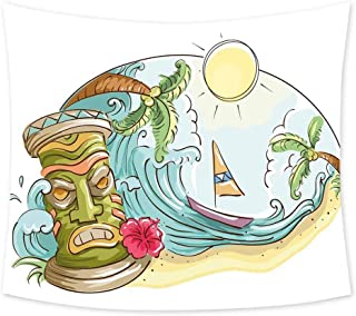 Luoiaax Tiki Bar Decor Wall Large Tapestry for Bedroom Circular Frame with Tropical Accents Cartoon Beach Tiki Statue Illustration Trippy Tapestry Wall Decor W70 x L70 Inch Multicolor