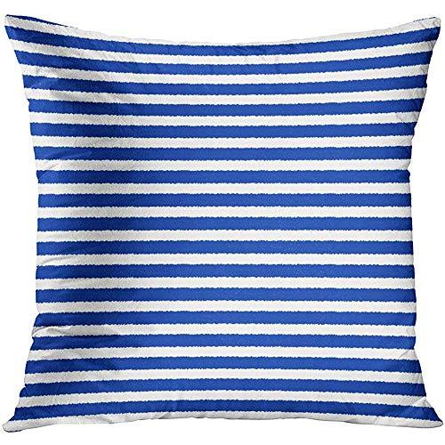 MJDIY kussenhoes, abstracte getekende zeeman strepen patroon blauw en wit gestreept vest mooie heldere mode afdrukken kussenhoezen voor sport Gym Athletic