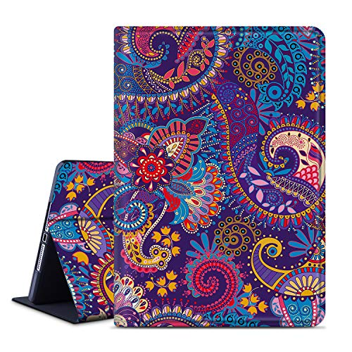 ANERIMST iPad Air 2 Case, iPad 9.7 2018/2017 Case, Microfiber Lining, Soft TPU Back Case, Protective Leather Case, Auto Wake/Sleep for Apple iPad 6th / 5th Gen, iPad Air 1/2 (purpleflower-Mandala)