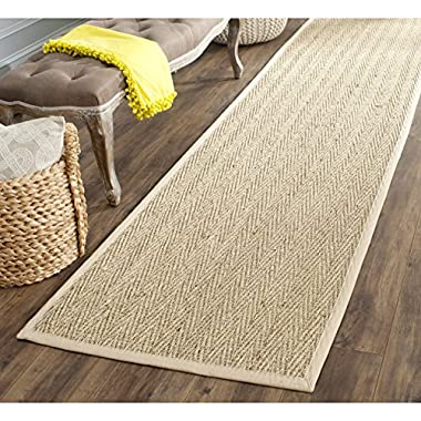 Safavieh Natural Fiber Collection NF115A Herringbone Natural and Beige Seagrass Runner (2'6  x 20')