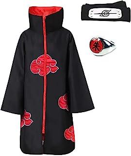 MANYU 3Pcs Halloween Cosplay Akatsuki Cloak Costume With Headband and Ring Itachi Cosplay Embroidery Uniform
