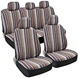 BDK Saddle Blanket Seat Covers for Cars Full Set - Striped Woven Mexican Blanket Seat Covers with Matching Headrest Covers, Multi-Color Baja Seat Covers for Truck Auto Van SUV