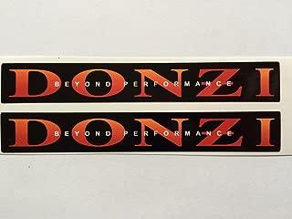 2 DONZI Speed Boat Black & Orange Die Cut Decals