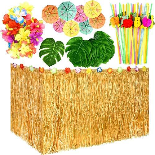 LATERN 109 Stücke Hawaiian Luau Party Dekoration Set, 9 Fuß Hawaiianischer Tischrock, Palmenblätter, Hawaiianische Blumen, Mehrfarbige Regenschirme, 3D Obststrohhalme zum BBQ Garten Sommer Tiki Party