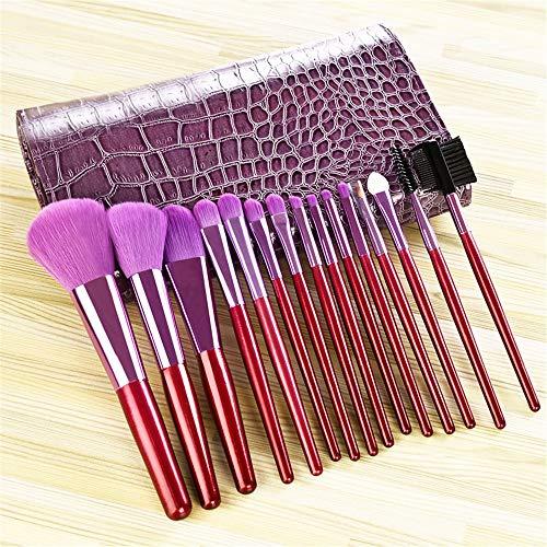 Pinceau de maquillage professionnel réglé 15 morceau Set outil de maquillage débutant fibre pinceau fard à paupières sourcils pinceau, violet