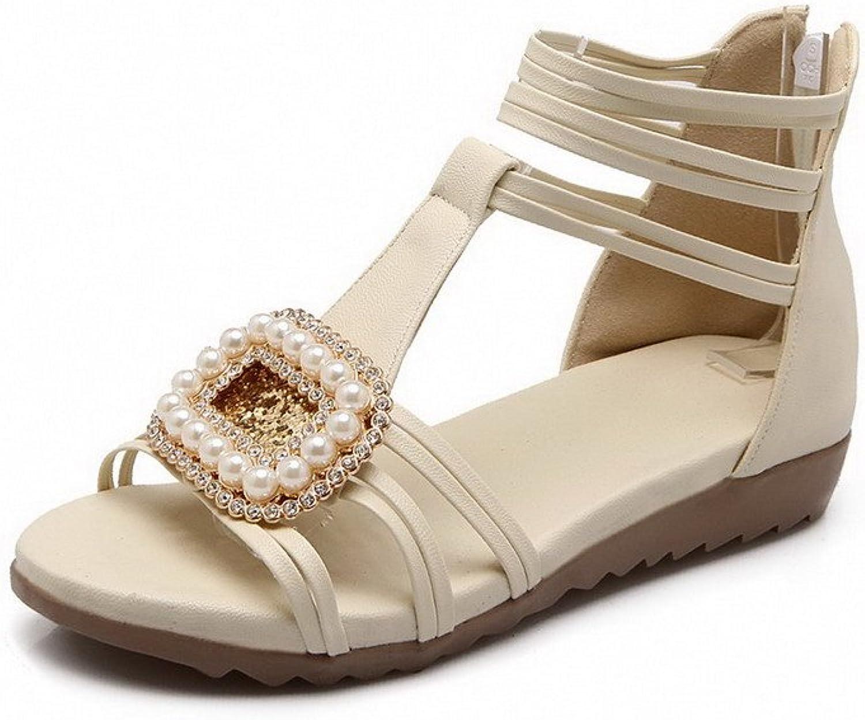 WeenFashion Women's Open Toe Low-heels Zipper Soft Material Solid Sandals