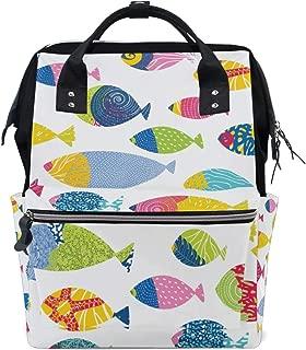 A Seed School Backpack Baby Diaper Bag Tote Daypack Bookbag Rainbow Fish Ocean Sea for Women Girls