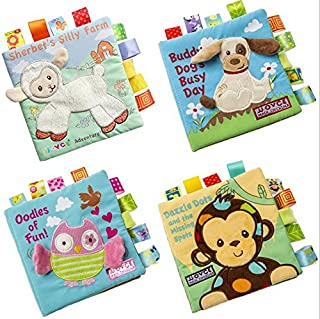HanShe Baby Soft Book Cloth Book Set 4 Pack Crinkle Book Educational Learning Toy for Infant Fabric Baby Activity Crinkle Book for Infants Toddler Baby Shower Gift for boy Girl Unisex