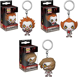 Funko Pocket POP! Movies IT: Pennywise with Spider Legs with Wig and with Red Balloon Keychain Toy Action Figures - 3 POP Bundle