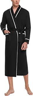 Aibrou Men's Dressing Gown, Soft Bathrobes Long Cotton Knit V Neck Kimono Robes Lightweight Housecoat Loungewear and Night...