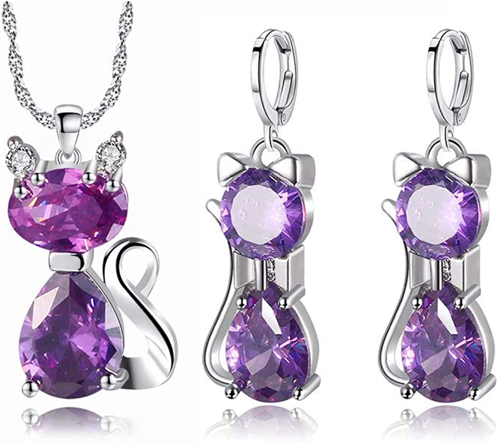 Almusen Little cat Jewelry Set for Women Plating Cubic Zirconia Earrings and Necklace Set Valentine's Jewelry Gift Birthday Gift for Mom Women Wife Girls Her