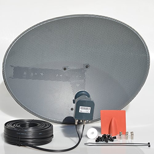 SSL Satellites Freesat HDR Satellite Dish DIY Self Installation Kit,Latest Dish with Quad LNB,5 Meter Twin Black coax Cable all necessary Brackets,Bolts and SATELLITE FINDER (5 Meter Kit, Black)