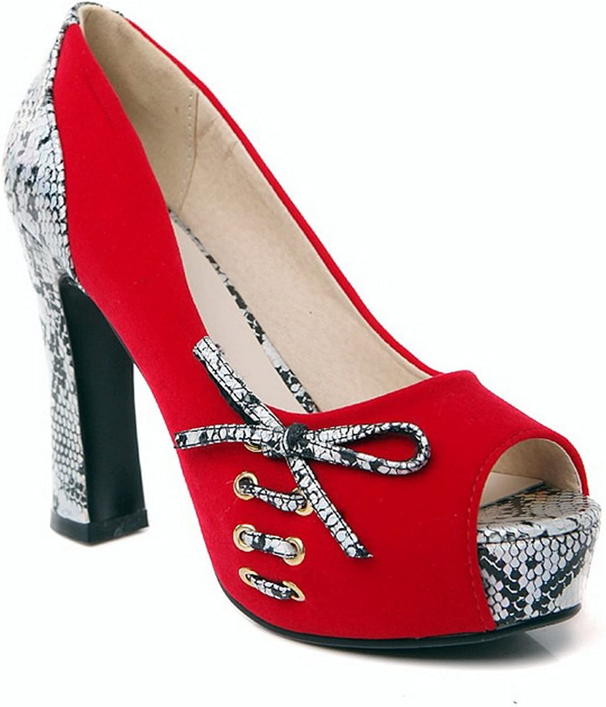 BalaMasa Womens Cobra Spun gold Bowknot Platform Imitated Leather Pumps-shoes