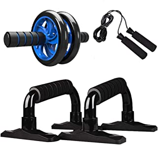 XMDD Muscle Exercise Equipment Abdominal Press Wheel Roller Home Fitness Equipment Gym Roller Trainer with Push UP Bar Jum...