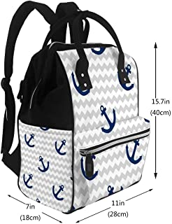 Baby Care Diaper Backpack Tile Sailor with White Anchor On Grey Zig Zag Stripes Diaper Bags Backpack