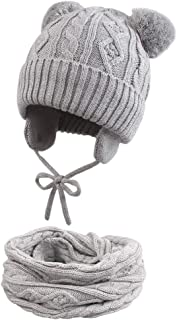 Cutegogo Baby Infant Earflap Beanie Hat Toddler Boys Girls Winter Warm Crochet Cap 0-24Months