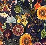 Sonnenblume, italienischer Samt, dunkelblau, grün, orange,