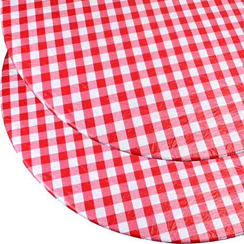 Double Pack - Round Vinyl Table Cover, Flannel Backed with Fitted Elastic Edge - Fits Tables 45' - 56' Diameter - Red and White Plaid Checkered...