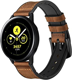Coffee Frosted Leather Straps Compatible for Samsung Galaxy Watch Active Watchband Wristband Unisex Adult