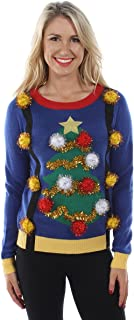 Women's Tacky Christmas Sweater-Christmas Tree Sweater with Suspenders
