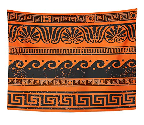 Emvency Tapestry Wall Hanging Red Mythology Ancient Greek Border Ornaments Meanders Roman Wave Vase Rome Band 60'x 80' Home Decor Art Tapestries for Bedroom Living Room Dorm Apartment