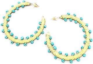 Ishvaku Unisex-Adult Bohemian Beaded Statement Hoop Earring In Turquoise Color By Ishvaku Turquoise