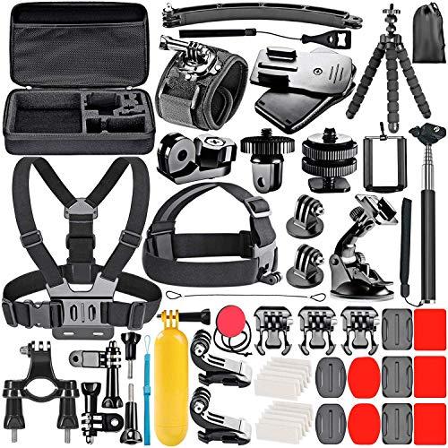 Kit accessori action camera universale videocamera sport compatibile con telecamera GoPro Hero Black Session Fusion valigetta Insta360 DJI AKASO APEMAN Campark SJCAM (53 in 1)