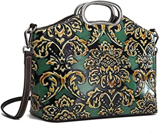 Luxurious Retro Leather Female Bag Top Layer Leather Fashion Single Shoulder Diagonal Portable Women's Embossed Bag 28 (Long) * 21 (high) * 12 (Thick) cm (Color : Green)