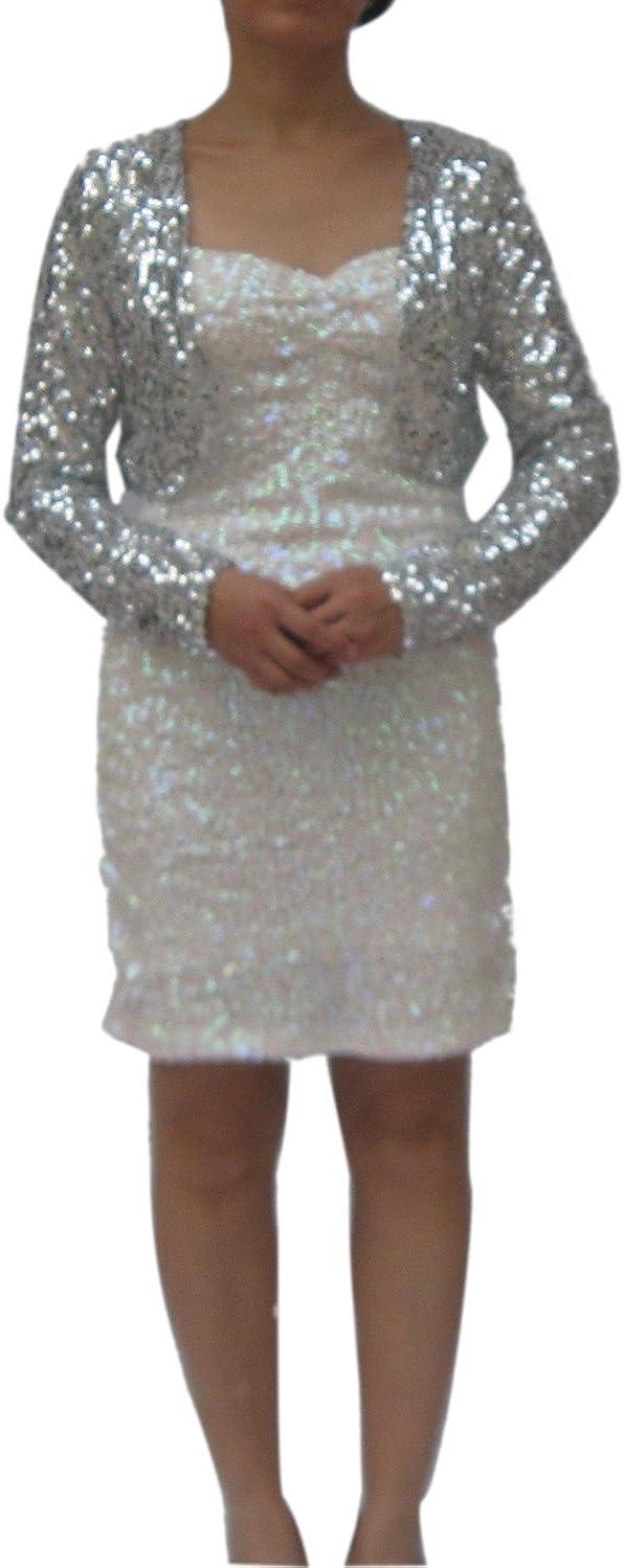 Whitewed Long Sleeve Sequin Shrug Cardigan Coat Jacket Bolero Clothing for Women