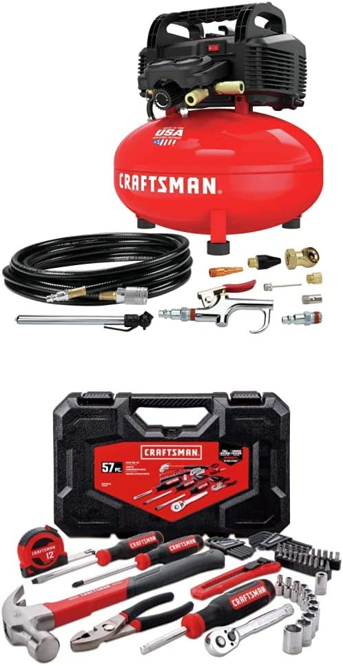 CRAFTSMAN Air Compressor, 6 gallon, Oil-Free Kit with Mechanics Tools Kit/Socket Set, 57-Piece (CMEC6150K & CMMT99446)