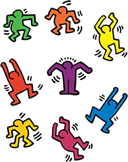 BLIK Keith Haring Dancers Removable Wall Decals | Officially Licensed Keith Haring Art | Assorted Colors | Set of 8 Decals | 13 x 13 Inches
