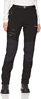 Anlamb Women's Outdoor Waterproof Windproof Fleece Cargo Snow Ski Hiking Pants