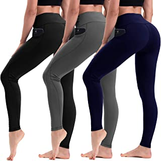 HLTPRO High Waist Yoga Pants for Women - Tummy Control 4 Way Stretch Yoga Leggings with Pockets for Workout, Running