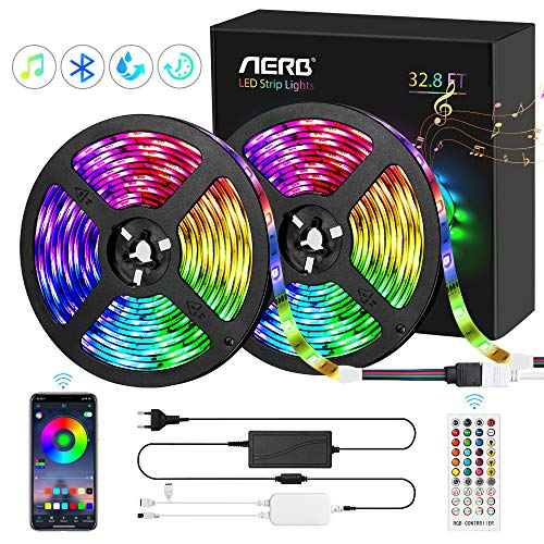 Aerb 10M Bluetooth Striscia LED RGB 5050, Impermeabile IP65,TV Retroilluminazione 16 Colori 4 Mode, 300LEDs 12V 5A, Funzione Musicale, Smart Controllo APP e Telecomando, Ricarica USB, Per Decorazioni