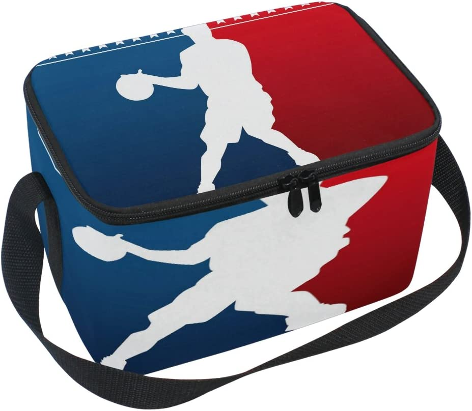 Use4 Basketball Man Red Manufacturer regenerated product Blue Miami Mall Tote Cooler Bag Insulated Lunch