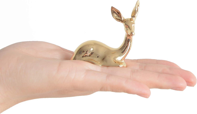 Ardax Golden Home Décor Deer Figurines,Small Animal Statue Handmade Sculpture Ornament (Christmas Deer)
