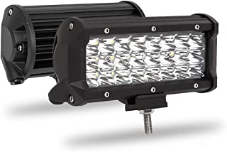 Off Road Lighting LED Light Bar 2PCS 72W 7200 Lumens 7Inch, Adiding LED Driving Fog Lights for Trucks Cree Spot Flood Beam Waterproof Super Bright Work Boat Lighting Jeep SUV UTV, 2 Years Warranty