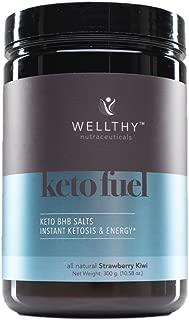Wellthy Keto Fuel All Natural Strawberry Kiwi - Beta-Hydroxybutyrate (BHB) Ketone Supplement, Dietary Supplement 300g (10.58 oz.)