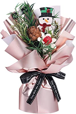 Amazon Com Funzzy Christmas Flower Bouquet Creative Dried Flower Bouquet Mini Gift Box For Party Supplies Snowman Home Kitchen