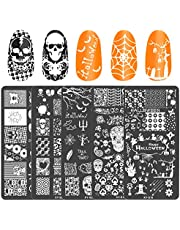 AirSMall5PCS Juego de placas para sellos de uñas de Halloween con varios patrones, telarañas, calabazas, murciélagos, calaveras, plantillas de sellos de imagen,decoración de uñas para Halloween