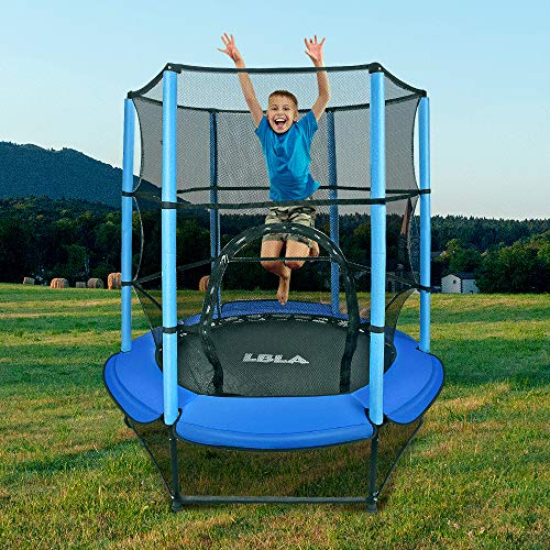 LBLA Trampolin Kinder Ø 140 cm Indoortrampolin Jumper mit Sicherheitsnetz, Randabdeckung Kindertrampolin Gartentrampolin Außentrampolin für Junge Mädchen ab 4 5 6 Jahren