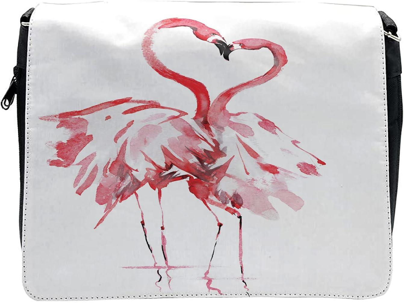 Ambesonne Flamingo Cross Body Messenger Bag, Lovers Kissing, Unisex