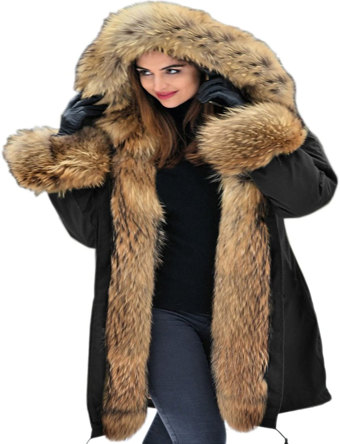Aofur Womens Hooded Faux Fur Lined Warm Coats Parkas Anoraks Outwear Winter Long Jackets