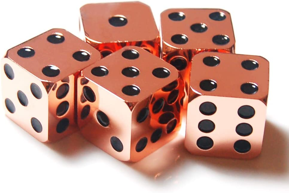 2Pcs D6 16mm Metal Alloy Custom /& Unique Six-Sided Dice 3 Types Highly Polished Premium Edition